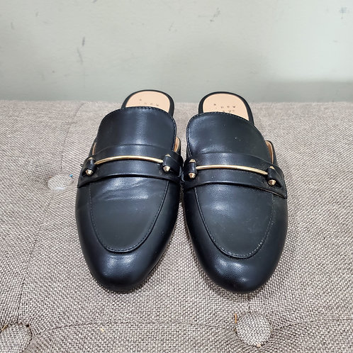 A New Day Black Mules with Brass Detail - size 7.5