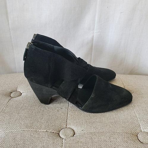 Eileen Fisher Suede Twist Front Stacked Heels - size 6.5