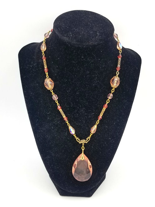 Sadie Green Victorian Look Pink Necklace