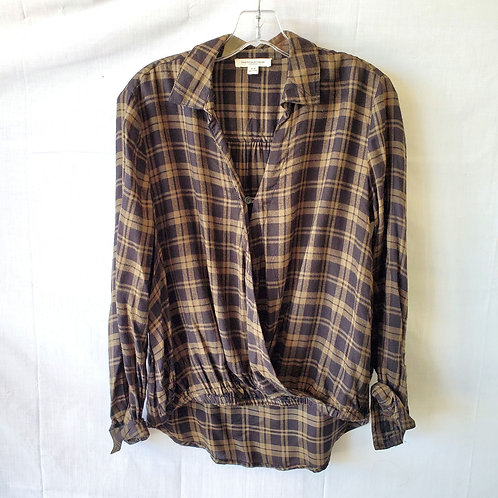 BeachLunchLounge Plaid Wrap Front Top - S