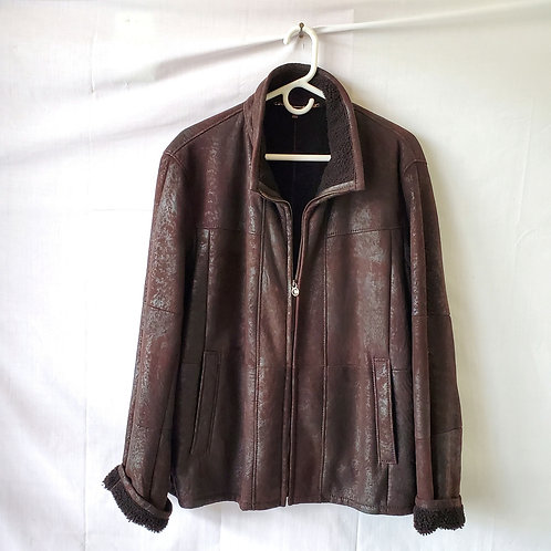 Christ Leather Shearling Jacket - size 50/XL