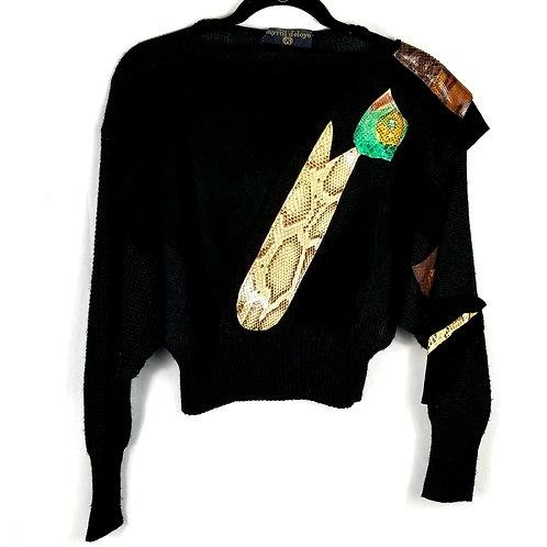 Vintage myrtil d'eloye Applique Cropped Sweater - approx S/M
