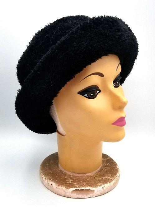 Laplein Black Fuzzy Hat