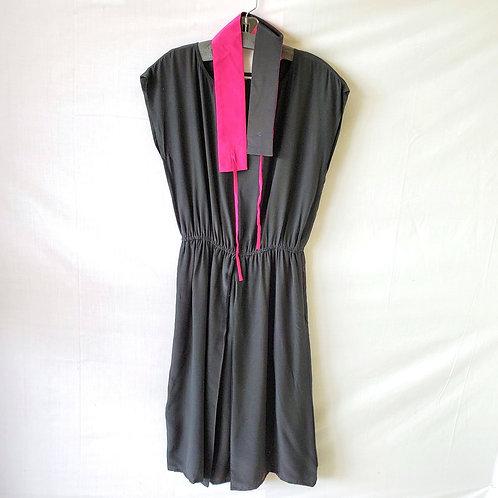 Vintage Silk Dress with Hot Pink Sash - size 10