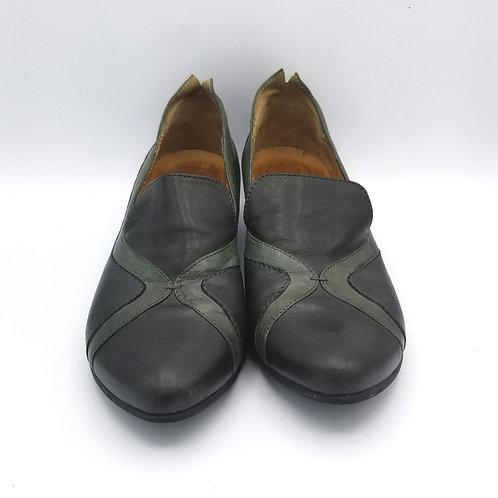 Fidji Black & Sage Green Slip On Shoes - size 40.5