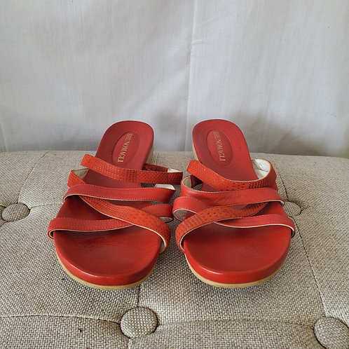 Bruno Magli Red Leather Slides - size 39
