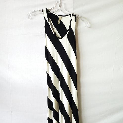 Elan Striped Asymmetrical Maxi Dress - M
