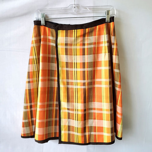 Vintage Fall Colors Plaid Wrap Skirt - approx S