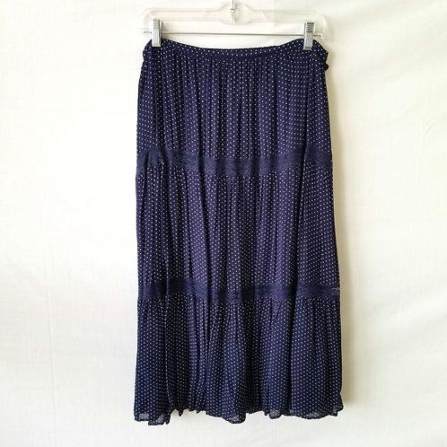 April Cornell Navy Mini Polka Dot Skirt - L