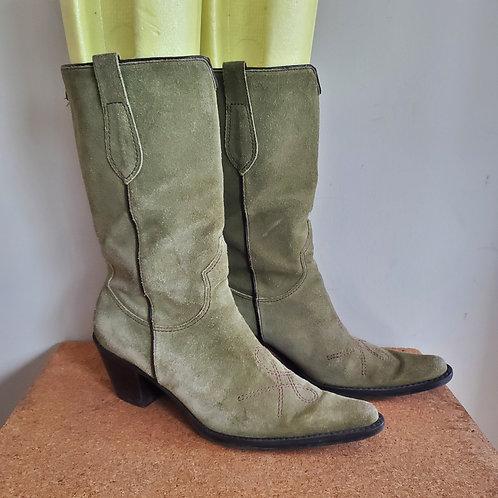 Franco Sarto Sage Green Suede Cowboy Boots - size 6M