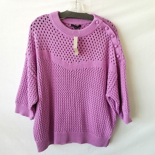 J Crew Open Knit Lavender Cotton Sweater - XL - New