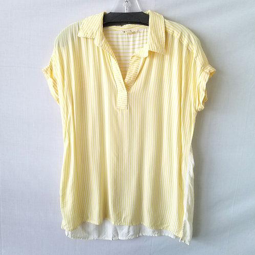 June & Delancy Pale Yellow Striped Shirt - M