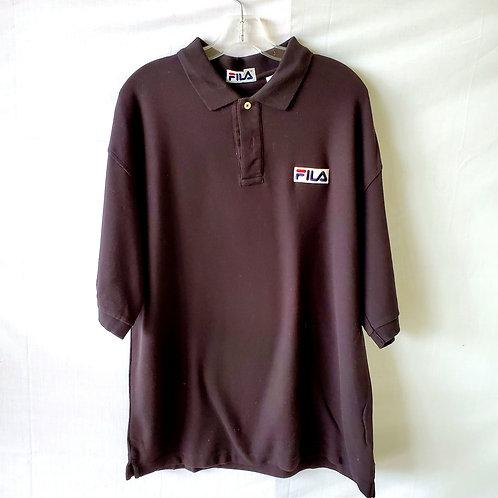 Fila Black Oversized Cotton Polo - XL