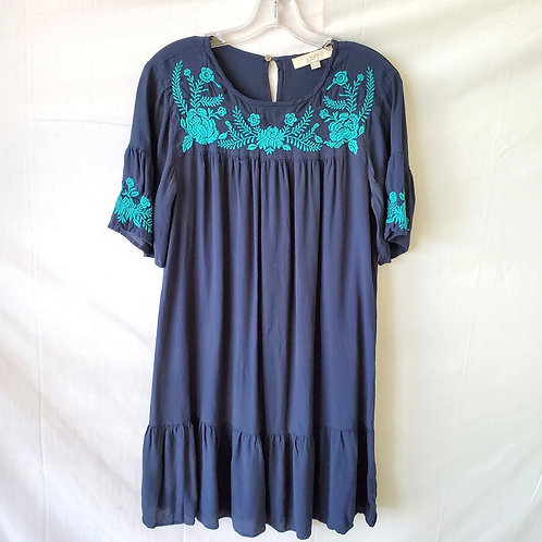 LOFT Dress with Ruffle & Embroidery - S