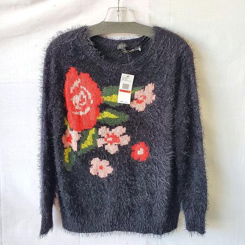 Jessica Simpson Fuzzy Sweater with Flowers - XS - New