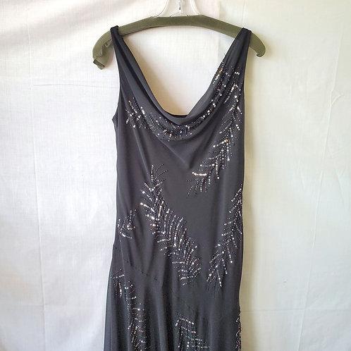 Marina Embellished Asymmetrical Evening Dress - size 14