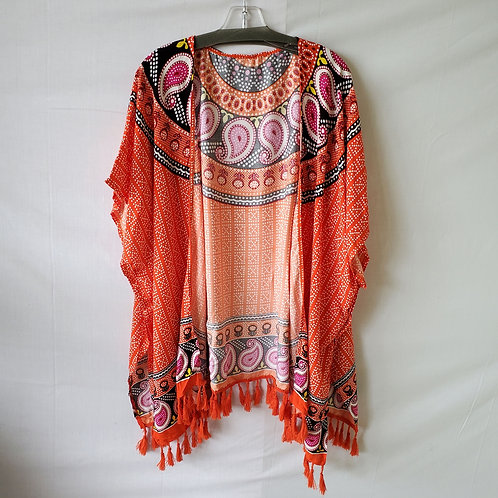 Brightly Patterned Cover Up/Open Top - approx M/L