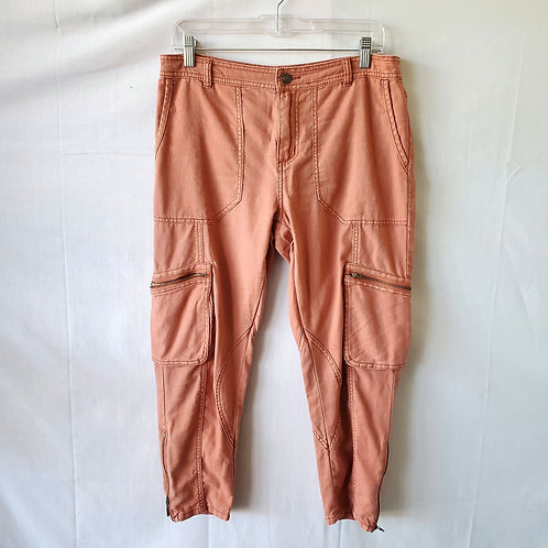 Free People Linen & Cotton Cargo Pants with Zippers - size 4