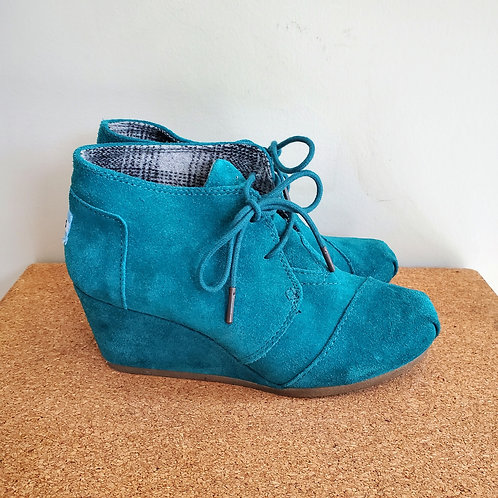 Toms Suede Wedge Booties - size 7W