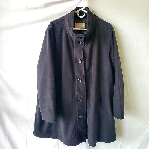 Woman Within Black Fleece Swing Coat - 1X