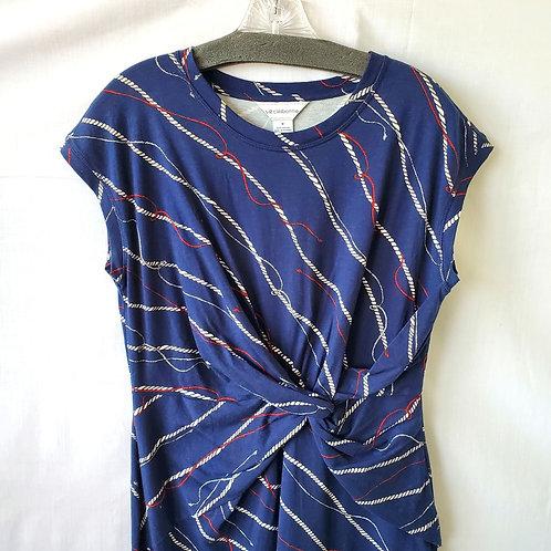 Liz Claiborne Cotton Nautical Twist Front Dress - M