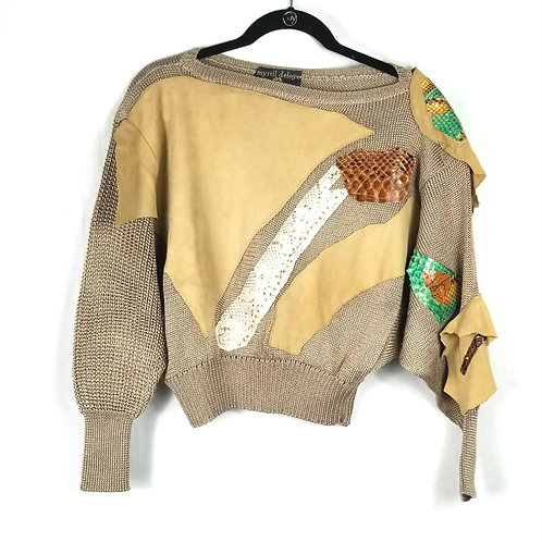 Vintage myrtil d'eloye Applique Cropped Sweater - approx S/M