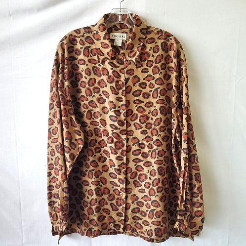 Vintage Bogari 100% Silk Oversized Shirt - L