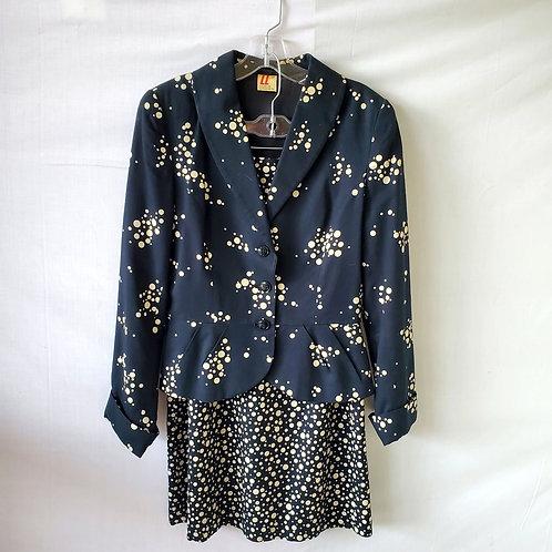Vintage Lucie Linden Polka Dot Suit - size 38