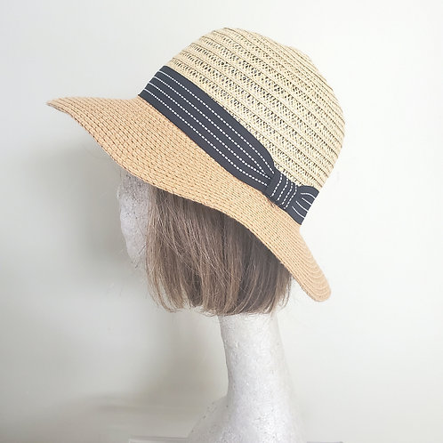 Two Tone Paper Straw Hat with Ribbon Band