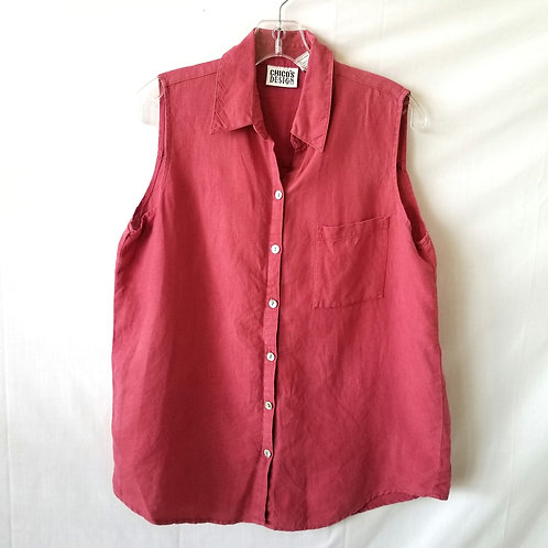 Chico's Raspberry Linen Sleeveless Top - size 1/M