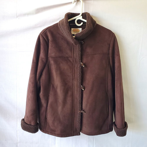 Talbots Faux Shearling Jacket with Buttons - L Petite