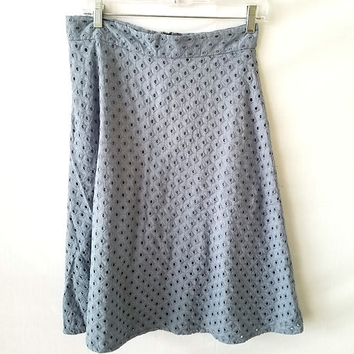 LOFT Pale Blue Eyelet A-Line Skirt - size 6
