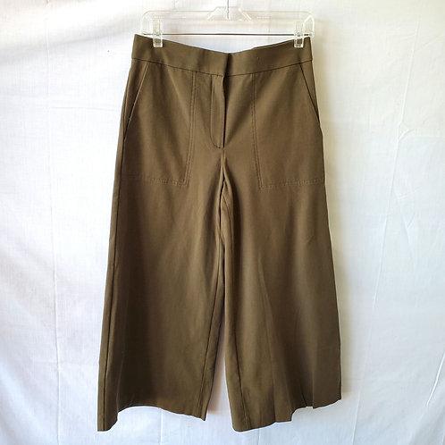 Ann Taylor Olive Cropped Wide Leg Pants - size 6