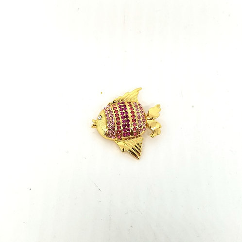 Talbots Pink Rhinestone Fish Pin