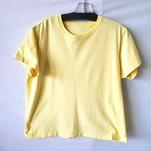 LL Bean Sunny Yellow Cotton Boxy Tee - M