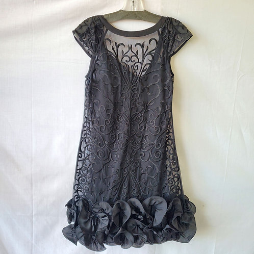 Guess Sheer Overlay Party Dress with Ruffles - size 0