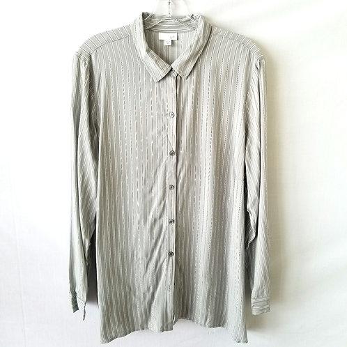 J Jill Gray Striped Button Up Shirt - XL