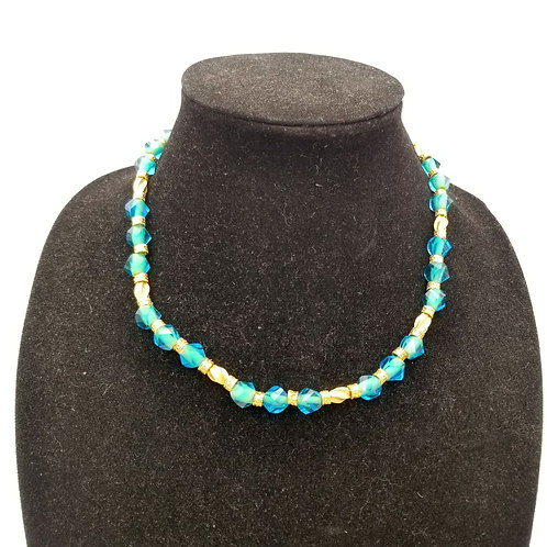 Teal Crystal Bead Necklace with Magnetic Clasp