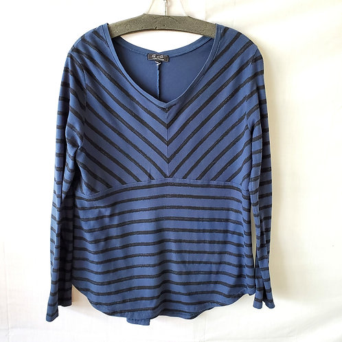 G & C United Knitwear Striped Cotton Top - approx M/L