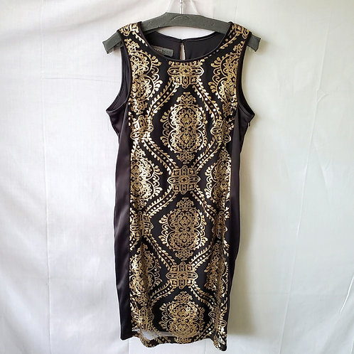 Donna Ricco Pencil Dress with Sequin Overlay - size 10