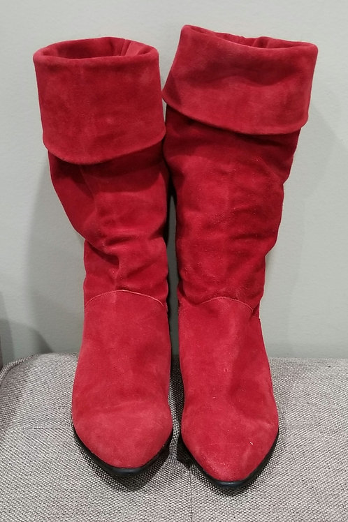 Vintage Mootsies Tootsies Red Suede Slouch Boots - size 6
