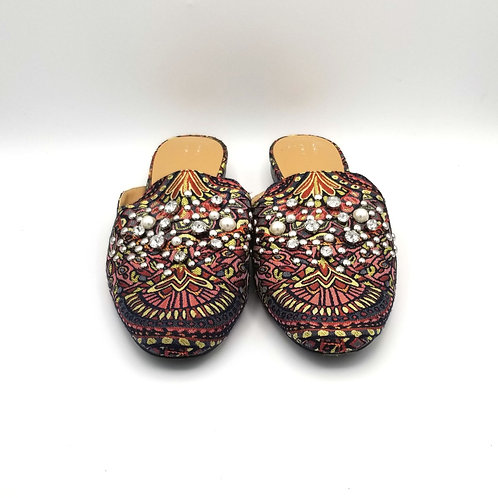 A New Day Brocade Slip On Mules with Jewels - size 9.5