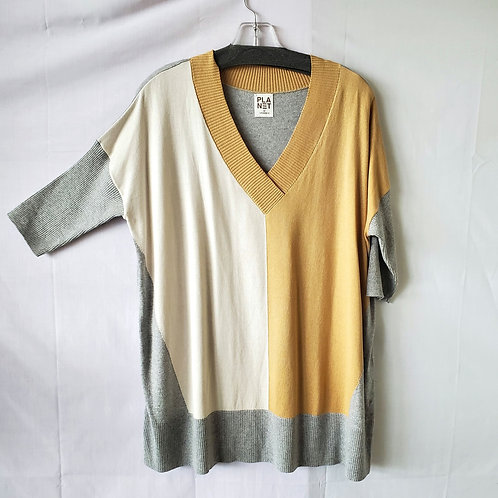Planet by Lauren G Oversized Colorblock Sweater - approx M