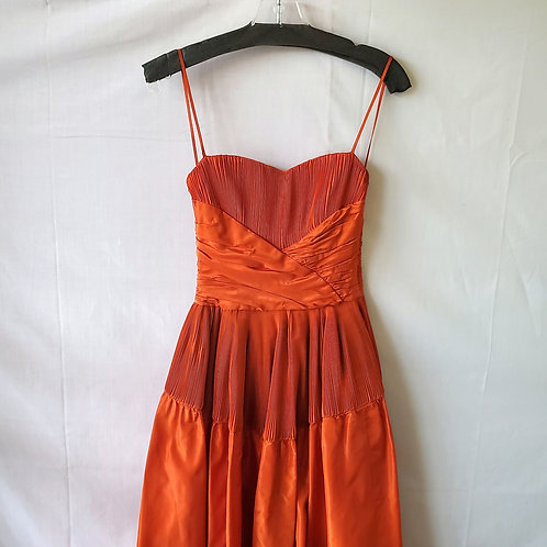 Vintage Mini Pleated Evening Gown - approx S - as is