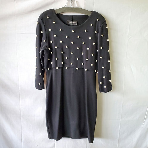 Vintage Andrea Jovine Jersey Knit Dress with Pearls - approx M