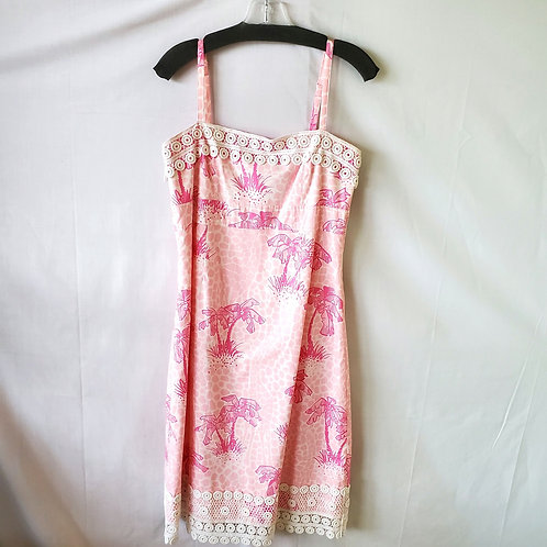 Lilly Pulitzer Palm Tree Print Dress - size 8 - as is