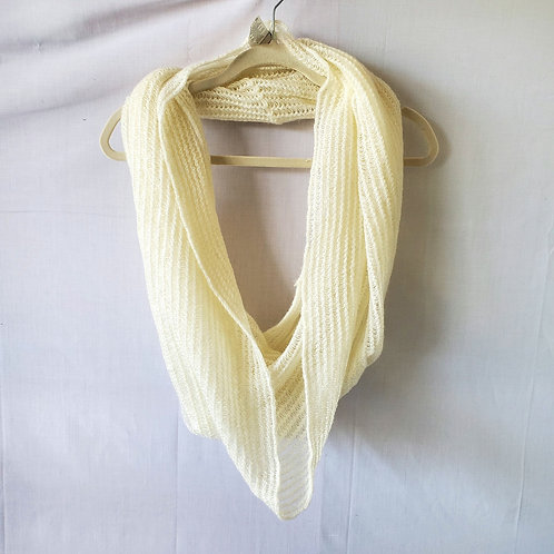 Echo Cream Crochet Knit Infinity Scarf