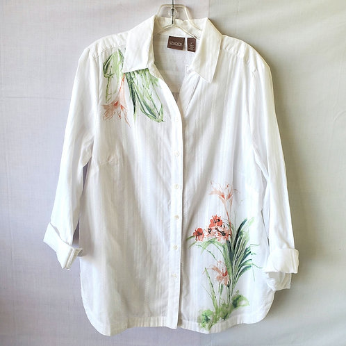 Chico's Watercolor Floral Button Up - size 2/L