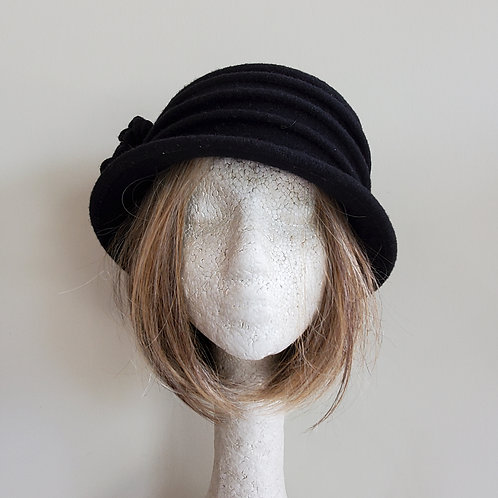 Shireen Black Wool Hat with Flower - One Size