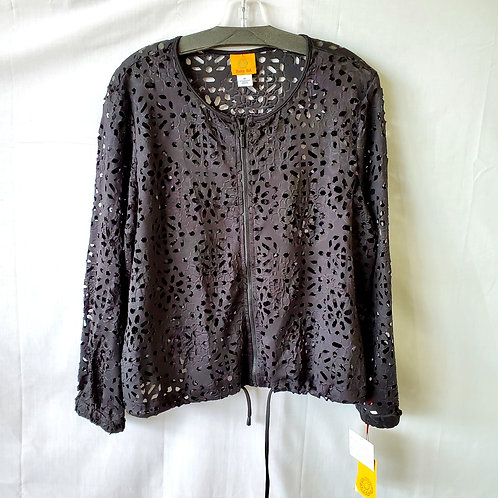 Ruby Road Laser Cut Jacket with Drawstring - size 14 - New